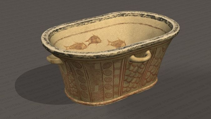 minoan painted bathtub - pachyammos crete 1350 bc - 14th century 3d model max obj mtl 3ds tga 1