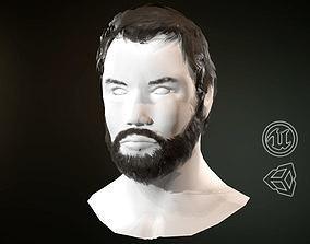 Hair and Beard Cards Man 3D asset game-ready