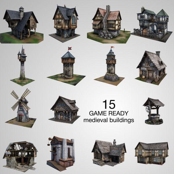 15 Medieval Buildings Model Pack