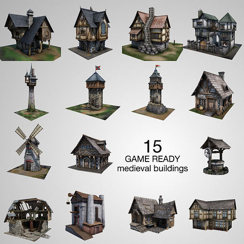 15 medieval buildings model pack 3d model low-poly fbx tga unitypackage 1