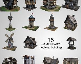realtime 15 Medieval Buildings Model Pack
