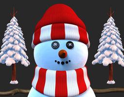 Snowman with Snow Pine Tree cartoon 3D