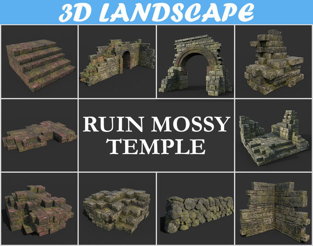 low poly mossy ruin temple package 181119 - game ready 3d model max obj mtl 3ds fbx dae 1