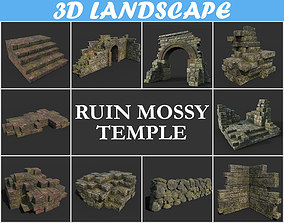 3D Low poly Mossy Ruin Temple Package 181119 - Game Ready