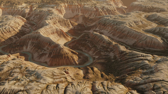 terrain canyon with river - 16k scene 3d model max 1