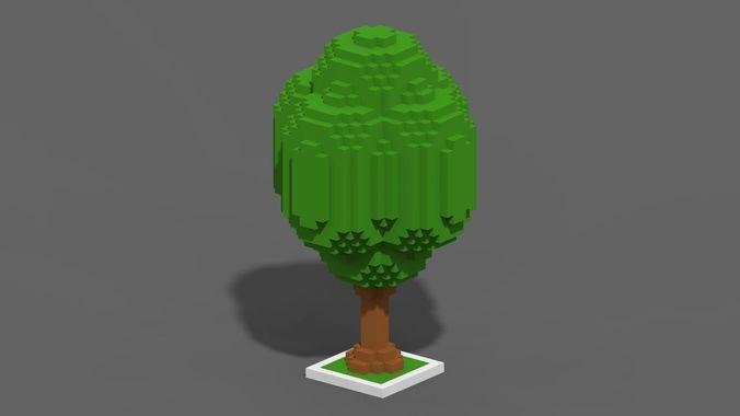 tree voxel - 5 3d model low-poly max obj mtl fbx ma mb tga 1