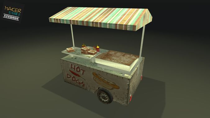 game ready food cart 3d model low-poly max 3ds fbx unitypackage prefab 1