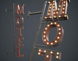 3D asset Old Metal Motel Sign PBR Game Ready