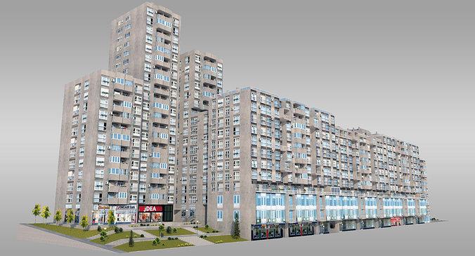 3d Asset Brutalist Residential Complex Cgtrader