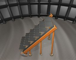 Sci-Fi Stairs - 16 - Orange Version 3D asset