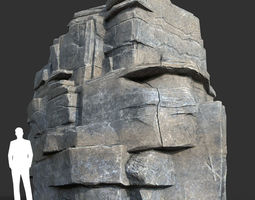 Low poly Blocky Cliff Rock Gray color 04 181122 3D model