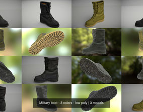 3D Military boot - 3 colors - low poly