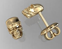 stud earring angry human scull 3D print model
