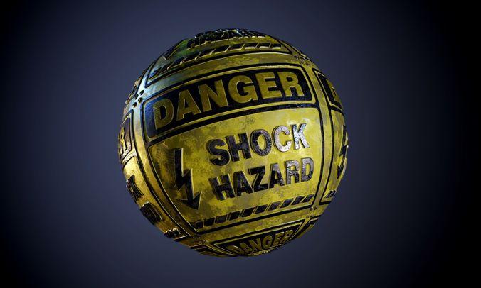 danger shock hazard sign dirty seamless pbr texture 3d model obj mtl 1