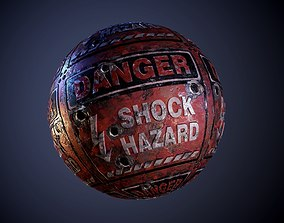 3D model Metal Warning Hazard Sign Bullet Holes Seamless 1