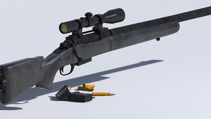 m24 sniper rifle low-poly 3d model 3d model max obj mtl 3ds fbx ma mb tga 1
