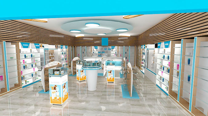 pharmacy interior design - form stand mediacly  3d model max 1