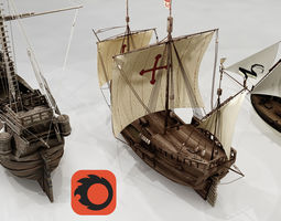 Three Classic Ships 3D model