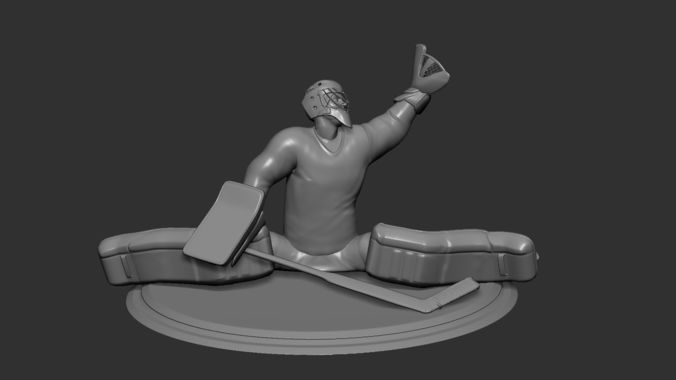 hockey player goalie collectible figure statue 3d print pose 02 3d model obj mtl stl 1