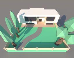 3D asset Futuristic house 01