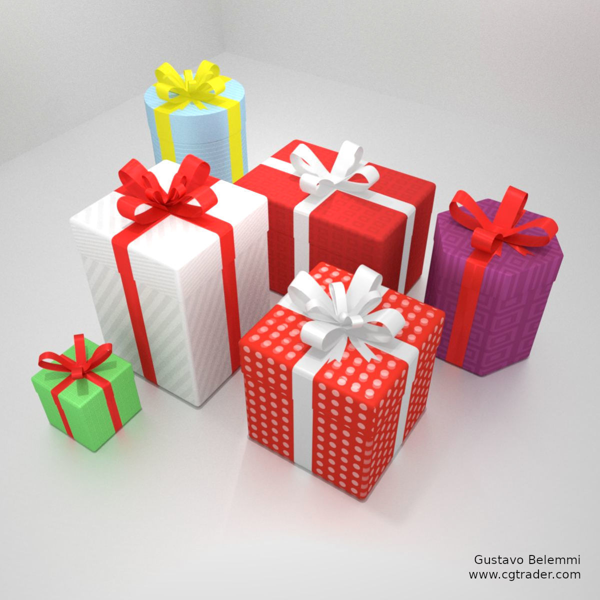 6 Gift Boxes with Wrap Textures