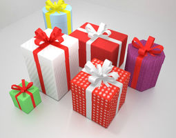 6 Gift Boxes with Wrap Textures 3D