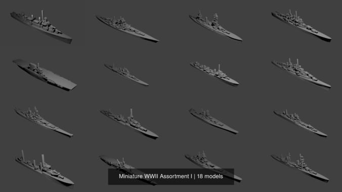 miniature wwii assortment i 3d model obj mtl stl 1