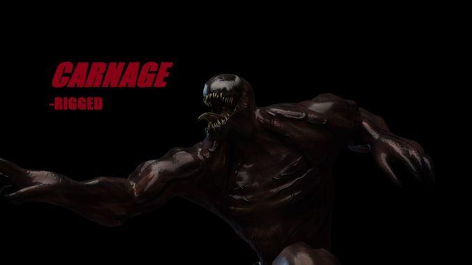 carnage rigged model 3d model low-poly rigged animated obj mtl 3ds fbx blend 1