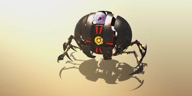 sci-fi spheric drone 3d model rigged c4d 1