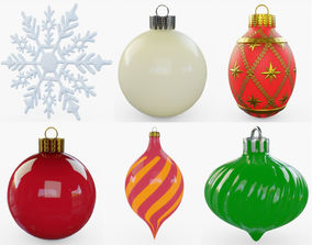3D asset game-ready Christmas Ornaments Collection