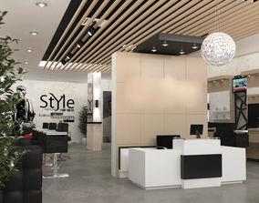 Barber Shop Interior 3D Model Scene