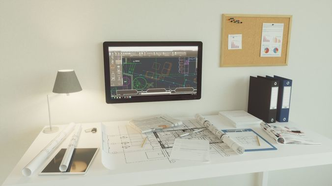 office set architect 3d model max obj mtl 3ds fbx dwg 1