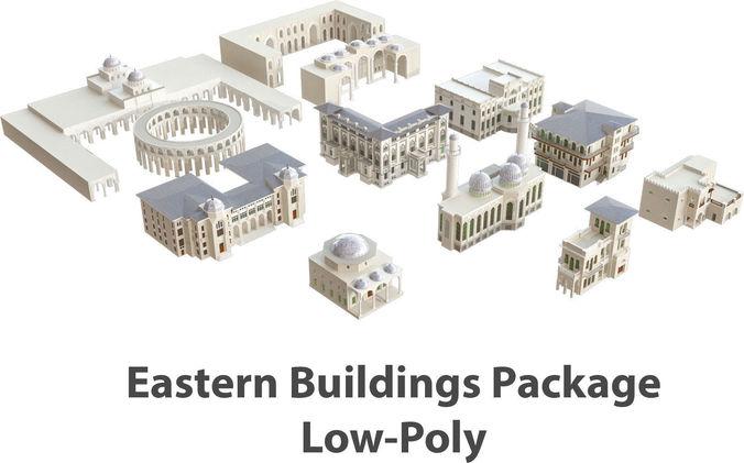 middle eastern building package 3d model max obj mtl 3ds fbx dwg 1