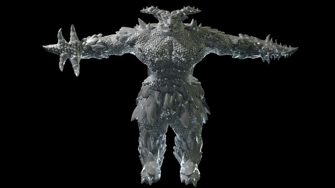 a powerful scaly monster 3d model obj mtl 1