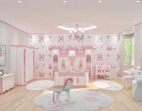 Grils princess bedroom 3D