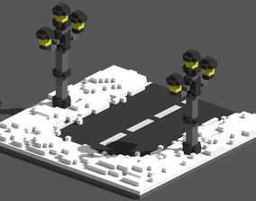 3D asset Xmas Road Voxel - 5