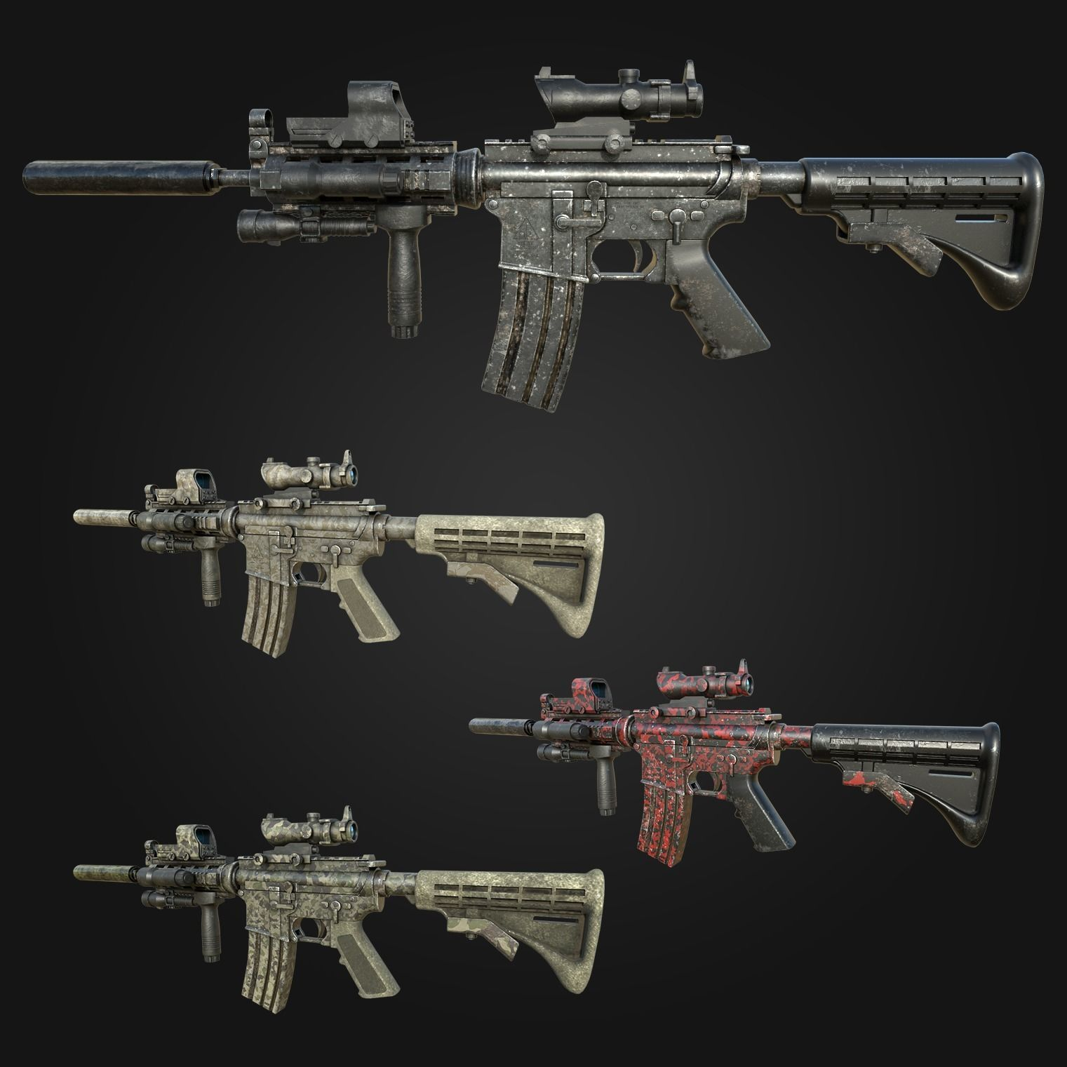 M4 Carbine Assault Rifle with Tactical Accessories and Skins