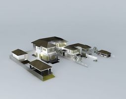 3D model Big contemporary house 02