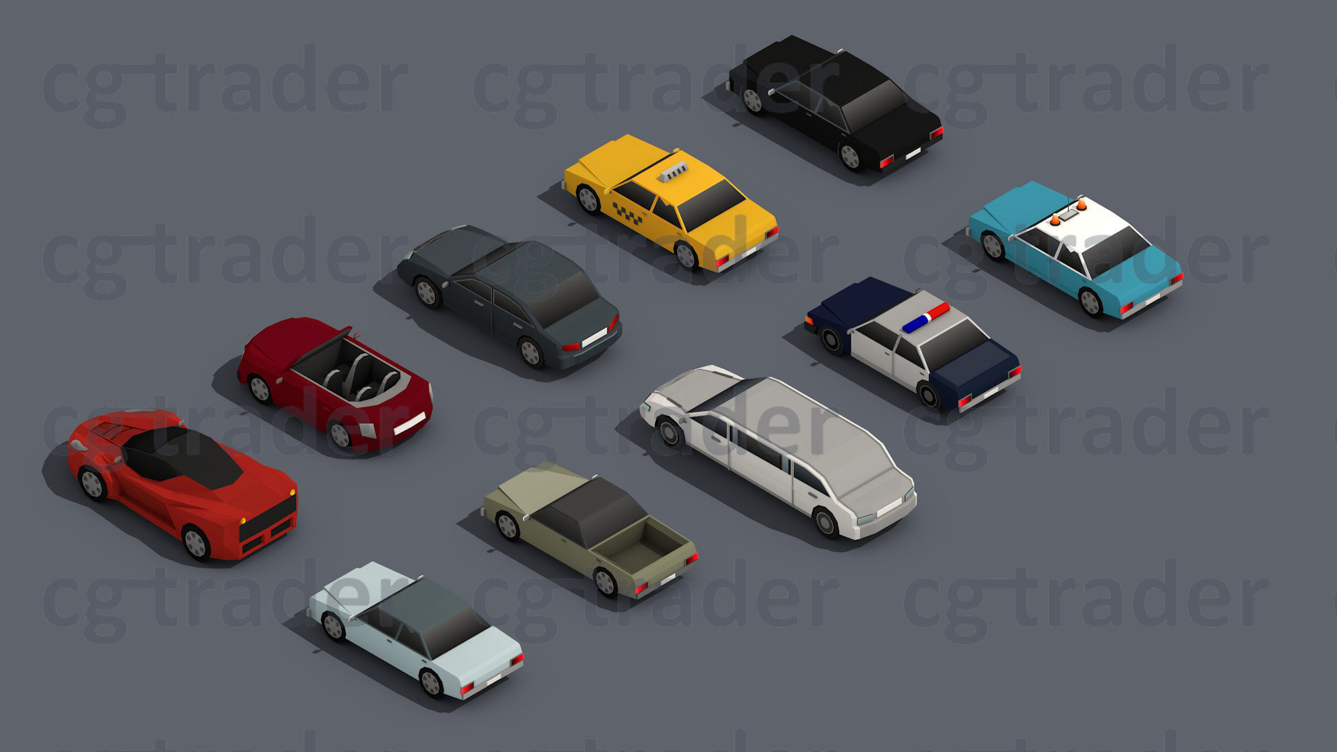 Isometric Parking Lot in 2019 3d Low poly car Low poly 3d Low