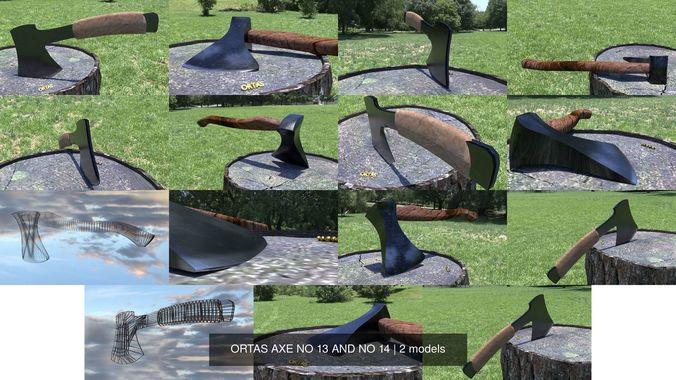 ortas axe no 13 and no 14 3d model obj mtl fbx stl 1