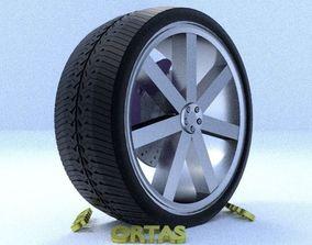 ORTAS CAR RIM 1 GAME READY RIM TIRE AND BRAKE 3D model