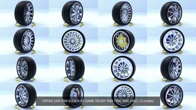 ortas car rim 6-7-8-9-10 game ready rim tire and disc 3d model obj mtl fbx 1