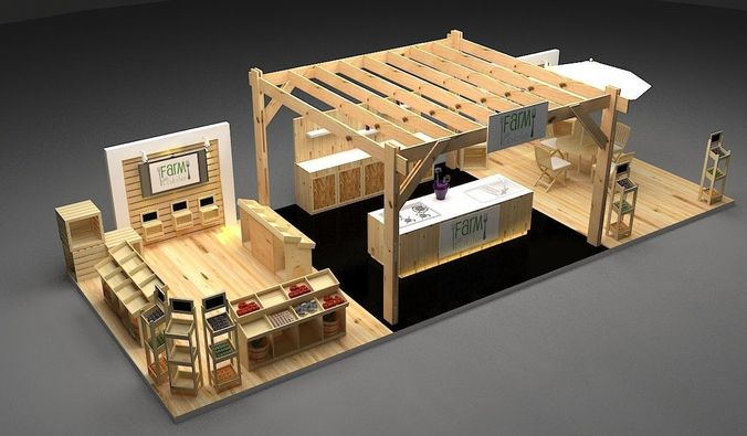 3d Exhibition Booth Design : Modern d model farm booth exhibition cgtrader