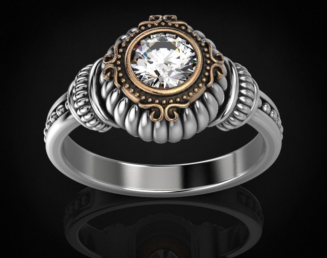 Stylish ring with a large diamond 443