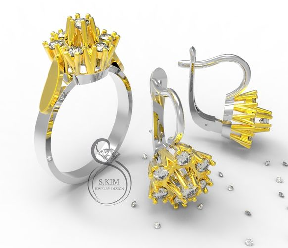 ring and earrings with brilliant  3d model stl 3dm 1