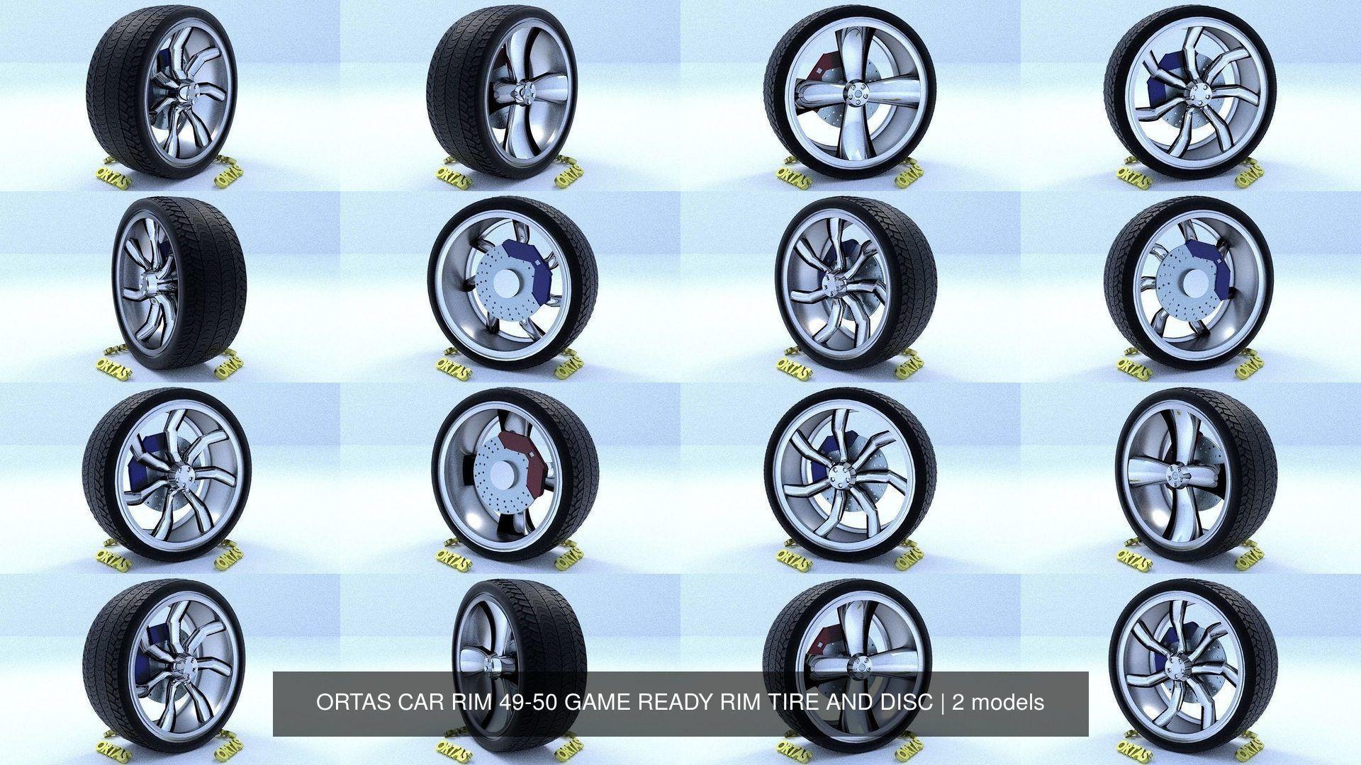 ORTAS CAR RIM 49-50 GAME READY RIM TIRE AND DISC