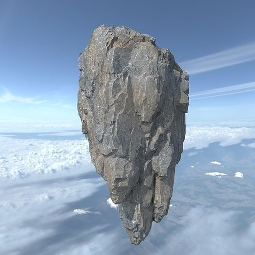 low poly fly island rock 08 181129 3d model low-poly max obj mtl 3ds fbx dae 1