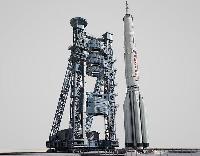 proton rocket  launch pad 3d model obj mtl fbx stl blend 1