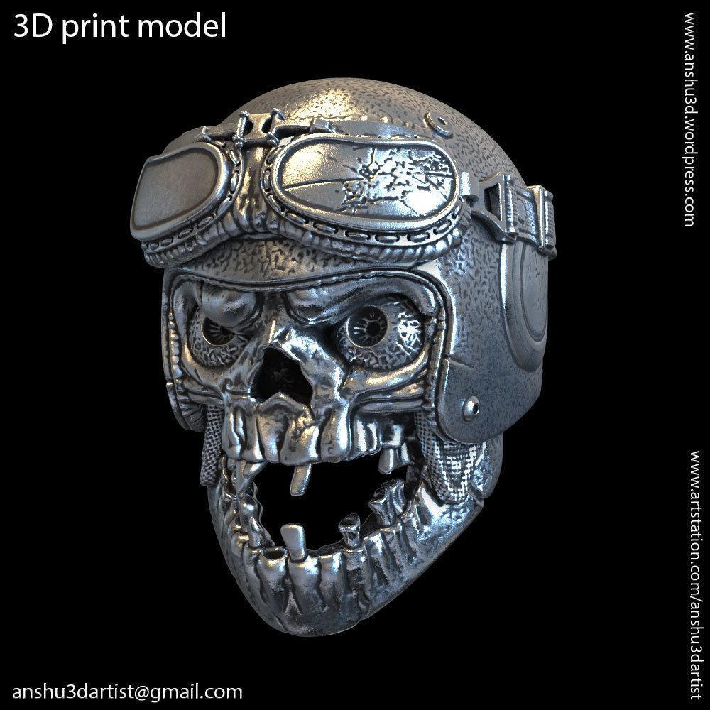 biker helmet skull vol1 Pendant jewelry