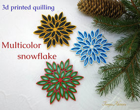 Multicolor snowflake 3d printed quilling